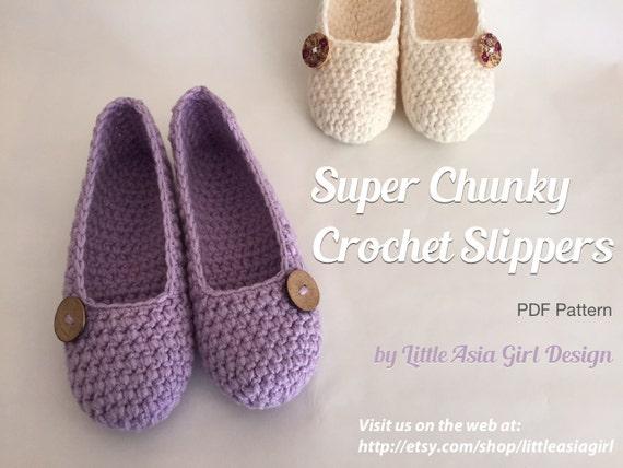 Crochet Slippers Pdf Pattern Super Chunky Slipper Pattern Etsy