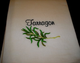 Tarragon Herb Flour Sack Towel. Machine Embroidered.