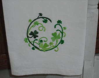 Shamrock St. Patrick's Day  flour sack towel. Machine embroidered.