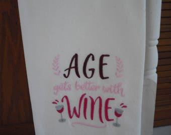 Wine themed  flour sack towel. Machine embroidered.