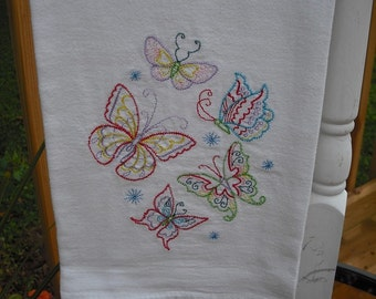 Butterflies flour sack towel. Machine embroidered.