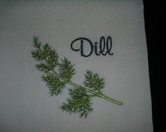 Machine embroidered kitchen flour sack towel herb dill