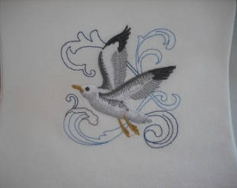 Seagull Beach Flour Sack Towel. Machine Embroidered.