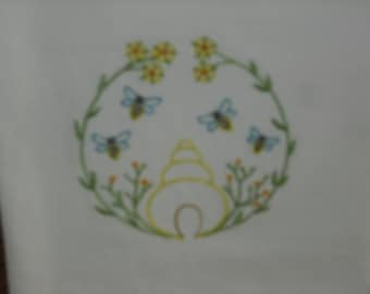 Primitive Style Bee Hive Flour Sack Towel. Machine Embroidered.