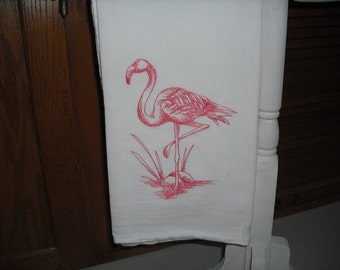 flamingo flour sack towel. Machine embroidered.