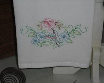 Vintage Style Hummingbird Flour Sack Towel. Machine Embroidered.