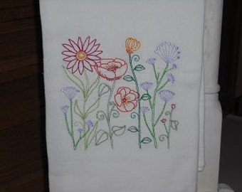 Flowered Flour Sack Towel. Machine Embroidered.