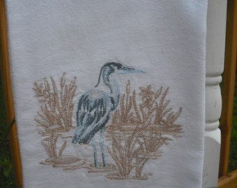 Blue Heron flour sack towel. Machine embroidered.