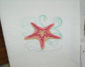 Summer beach-themed Starfish flour sack towel. Machine embroidered.