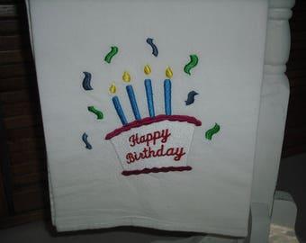 Happy birthday flour sack towel. machine embroidered.