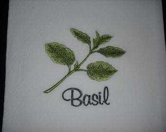 Flour sack towel Herb Basil. Machine embroidered.
