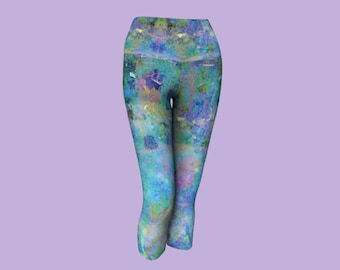 Completely Color Splash, Printed Yoga Capri Activewear Pant