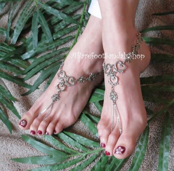 1548338824435 Women's SILVER HEART barefoot sandals wedding anklet foot Jewelry body  jewelry BRIDAL Beach shoes boho hippie Wedding ankle feet bracelet 2.