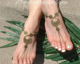 Hipster Barefoot Sandals Boho Wedding Foot Jewelry Beach Ankle Shoes Hippie Toe Rings Anklets Beachwear in Brown
