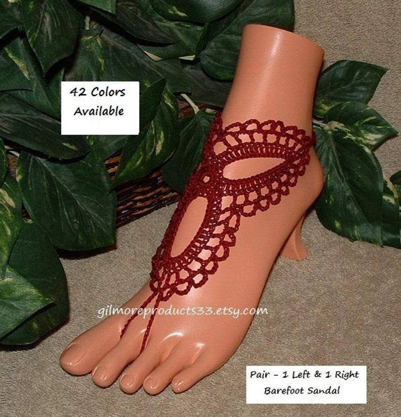 8790e6af380f8 Dark Red Wedding Sandals Beach Barefoot Women's Wedding Barefoot Foot Body  Wedding Jewelry in Crochet