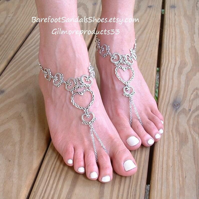 59b97bde0a1f6 SilveR foot JEWELRY barefoot sandals beach Wedding ankle bracelets BOHO  feet jewellery open Heart Design for beaches Hippie bride.:SFJ382