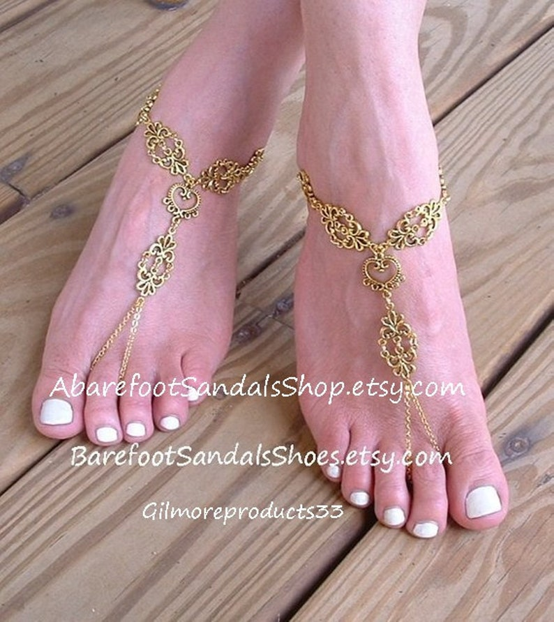 GOLD Barefoot sandals SILVER Lotus flower jewelry gold toe ring wedding jewelry silver anklet bracelet heart chain bridal foot jewelry