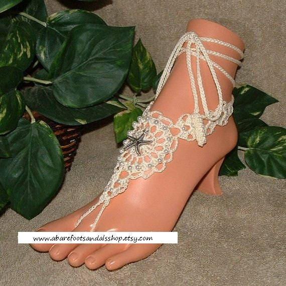 0df3c2d4c6b9b1 Beach ankle shoes footless sandals crochet beach wedding shoes