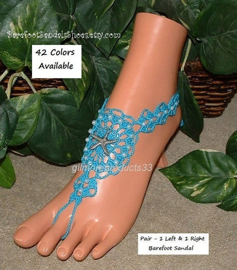 0b072e895 Barefoot sandals STARFISH Wedding anklet foot jewelry and SEA