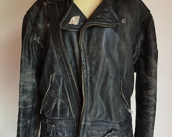 9d34bad0354f4 Vintage 60s Black Leather Biker Jacket - Authentic Biker Jacket - Unisex