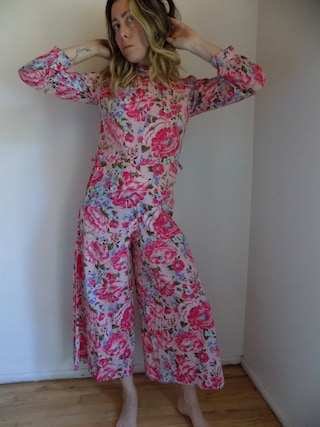 Vintage 70s Floral Jumpsuit -One of a Kind - Handmade - Editorial