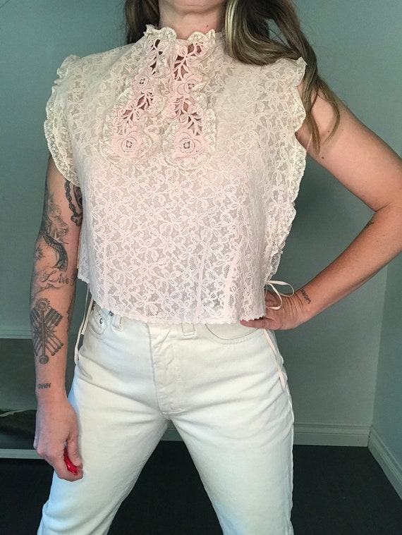 Vintage Victorian Dickie - Faux Blouse- Laced - Si