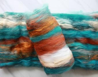 COPPER ROOF - Luxury Art Batts to Spin and Felt, Felting Fiber, Spinning Fiber, Muga Silk, Polwarth, Merino Wool, Bamboo, Fiber to Spin