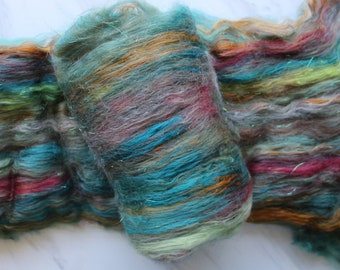 FOUR GREEN FIELDS Soft Art Batts to Spin and Felt, Luxury Spinning Fiber, Felting Fiber, Baby Alpaca, Merino Wool, Tussah Silk