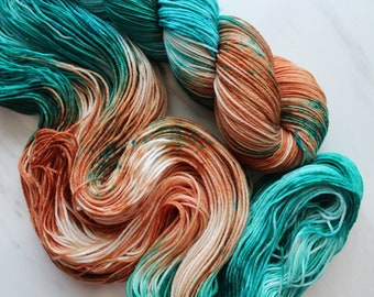 COPPER ROOF Indie-Dyed Yarn on Sock Perfection - Fingering-Weight Yarn, Sock-Weight Yarn, Merino-Nylon Yarn