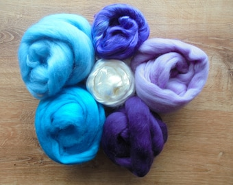 FELTING & SPINNING FIBER  - Coordinating Colorway Sets with Merino, Silk, Bamboo, and Sparkle