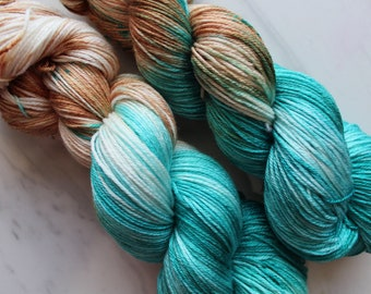 COPPER ROOF Hand-Dyed Yarn on So Silky Sock, Silk Yarn, Fingering-Weight Yarn, Luxury Yarn, Silk Yarn, Copper and Blue Yarn