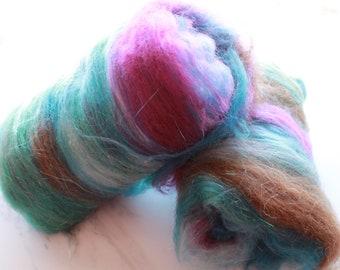 TEXAS BLUE BELLS Luxury Art Batts to Spin and Felt, Fiber to Felt, Fiber to Spin, Baby Alpaca, Merino Wool, Mulberry Silk, Sparkly Batts