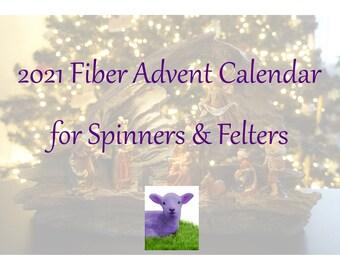 Spinner's Advent Calendar, Purple Lamb Fiber Advent Calendar, Hand-Dyed Top, December Fiber, Luxury Top, Sparkle, Locks, Fiber for Spinning