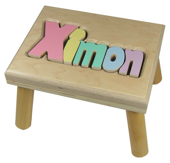 Fantastic Maple Puzzle Stool Bench Personalized Wooden Name Step Stools For Kids Toddlers Baby And Toddler Gmtry Best Dining Table And Chair Ideas Images Gmtryco