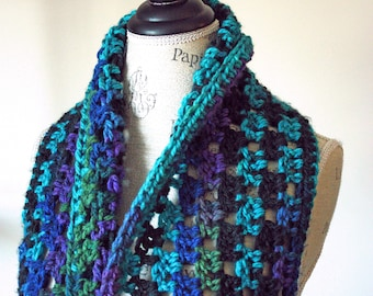 Aurora infinity scarf, hand crocheted multi-colored scarf