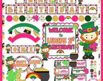 Lucky One St. Patty's Party Decorations- Create Your Own Package (Birthday, Shower, Celebration- Invitations, Banners, Table Decor, Favors)
