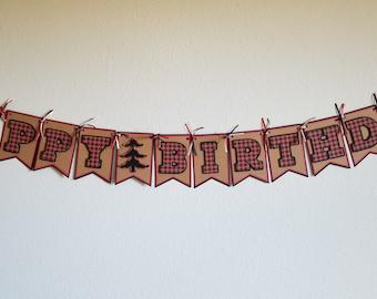 Lumberjack 'Happy Birthday' Banner (Announcement, Party, Children, Lumberjack, Buffalo Plaid, Flannel, Plaid, Christmas, Winter, Onederland)