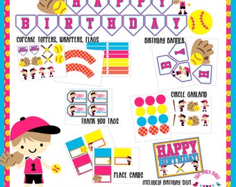 Softball/Fastpitch Party Decorations- PRINTABLE FILES (Birthday, Shower, Celebration- Invitations, Banners, Table Decor, Favors)