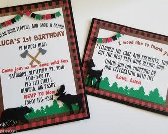 Lumberjack Stationery Set- Invitations & Thank You Notes (Birthday, Shower, Party, Bachelorette, Lumberjack, Plaid, Winter, Christmas)