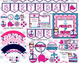 Nautical Girl Party Decorations- Create Your Own Package (Birthday, Shower, Celebration- Invitations, Banners, Table Decor, Favors)