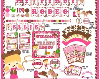 Cowgirl Western Party Decorations- Create Your Own Package (Birthday, Shower, Celebration- Invitations, Banners, Table Decor, Favors)