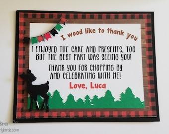 Lumberjack Thank You Notes- Birthday, Shower, Party, Bachelorette, Reunion, Christmas, Winter, Plaid, Lumberjack, Buffalo Plaid, One-derland
