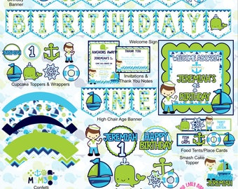 Nautical Boy Party Decorations- Create Your Own Package (Birthday, Shower, Celebration-  Invitations, Banners, Table Decor, Favors)