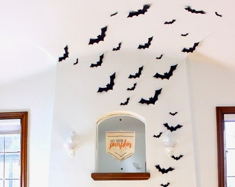 Black Bat Wall Hanging - Halloween Card Stock Cut-outs - 30 Pieces