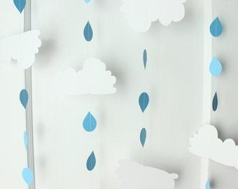 Rain Cloud - Baby Shower - Paper Garland - 10 Feet