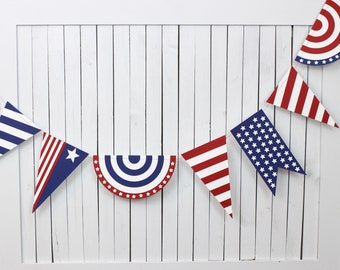 Patriotic Variety Paper Garland - 10 Feet - American - Red White and Blue Garland