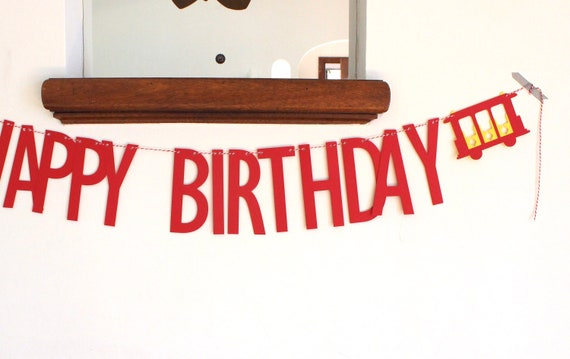 Daniel Tiger Inspired Paper Garland Banner Red andYellow 4 Feet Trolley Happy Birthday Sign