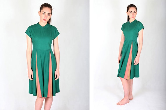 Seniorette Green Vintage 50s Dress