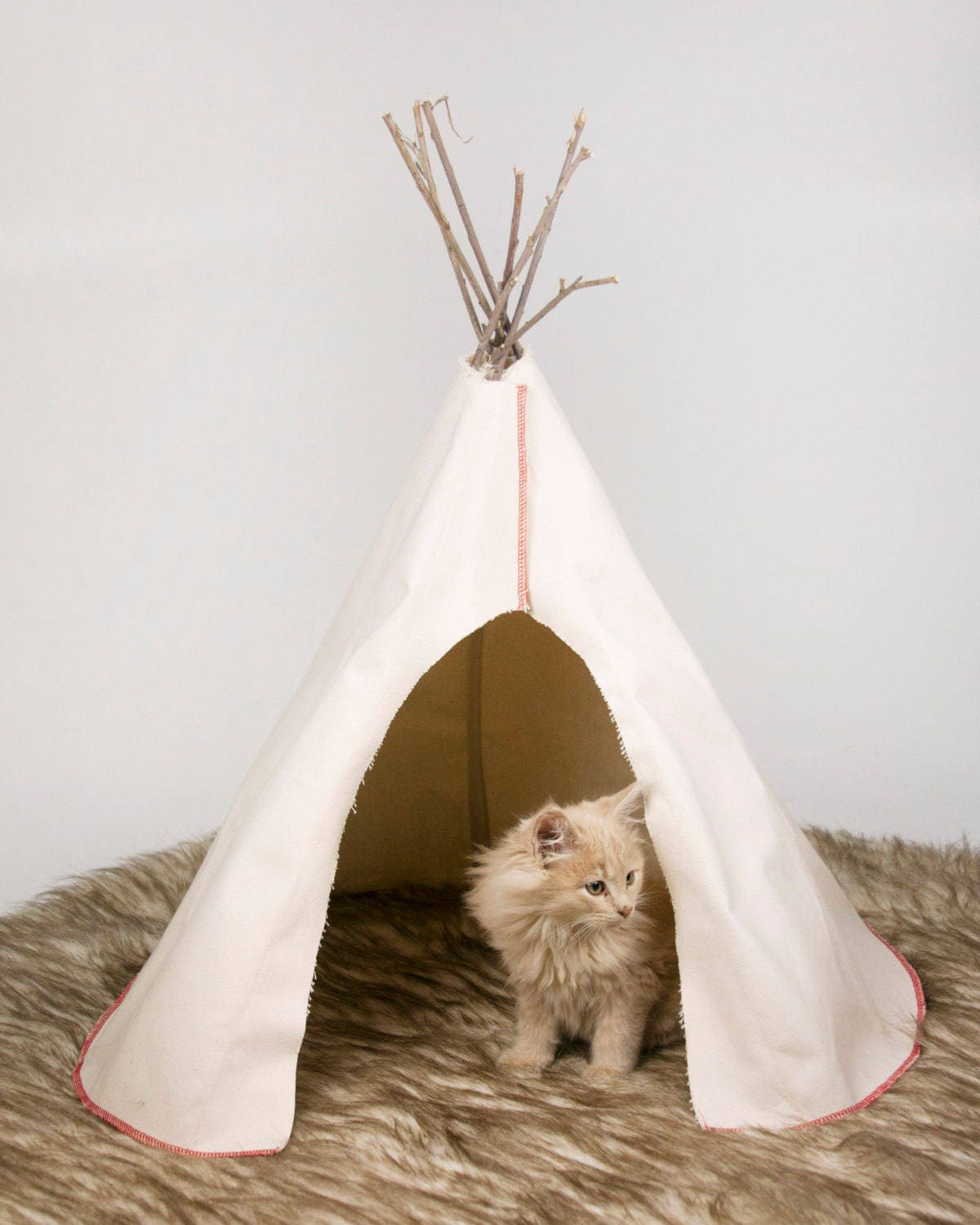 Buckskin Canvas Plain Pet Tipi For Cats Or Small Dogs With