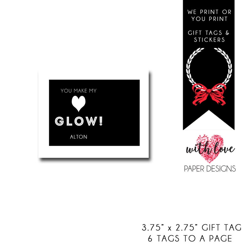 photograph relating to You Make My Heart Glow Printable named By yourself Create My Middle Shine Valentine Printable Valentine Valentine Present Tag  Custom made Reward Tag Do it yourself Reward Tag